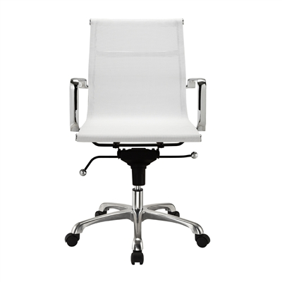 Modern mesh mid back office chair in white for White modern office furniture