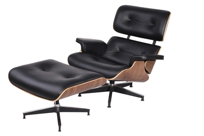 Eaze Lounge Chair Amp Ottoman In Black Leather And Dark